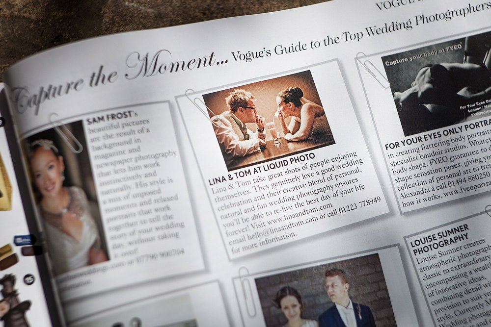 Lina and Tom photography in Vogue Magazine