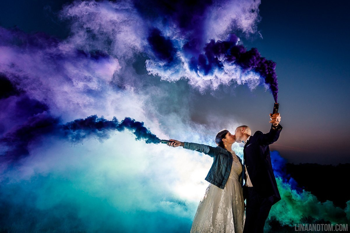 Smoke Bomb Wedding Photography