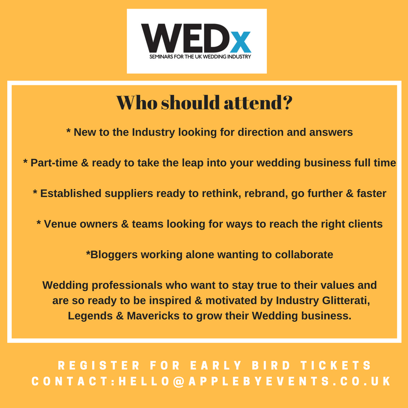WEDx May 2017 Info - seminars for the wedding industry