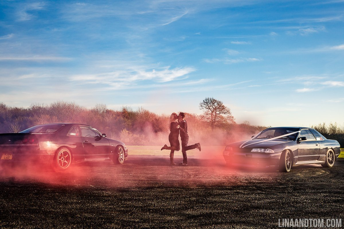 drift car engagement shoot