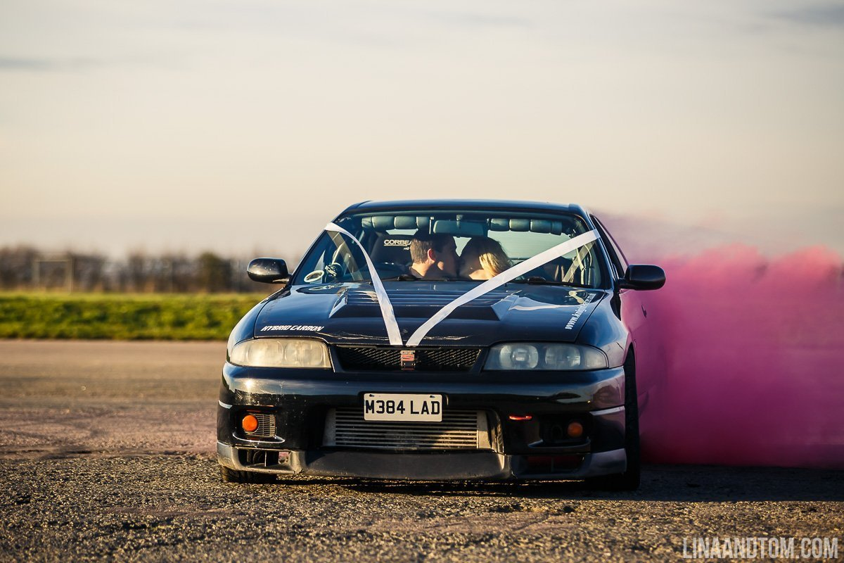 drifting car engagement shoot