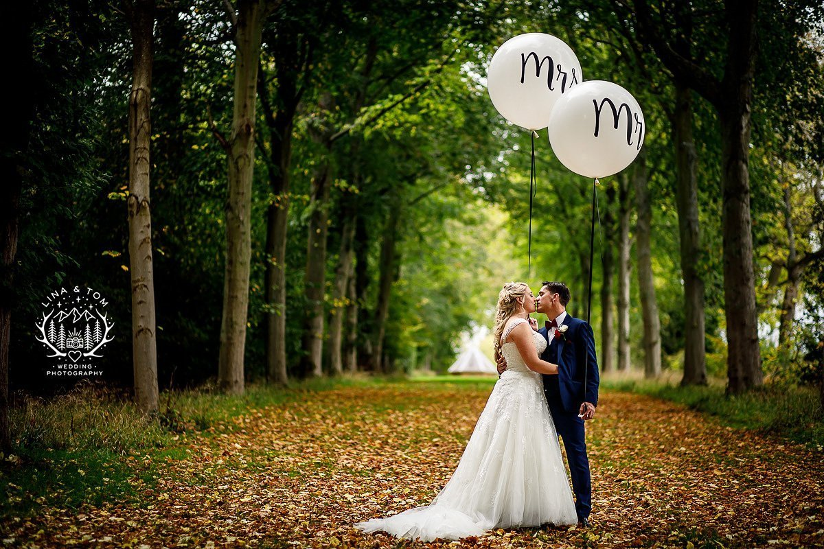Romantic wedding photography with large balloons
