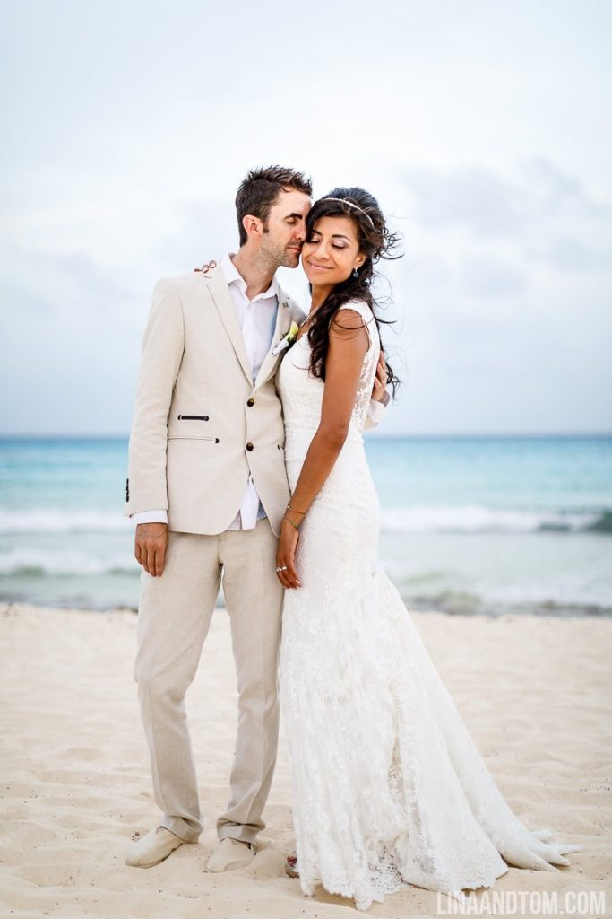 Bride and groom beach shot - Mexico Wedding Photography - Lina and Tom Destination Wedding Photography
