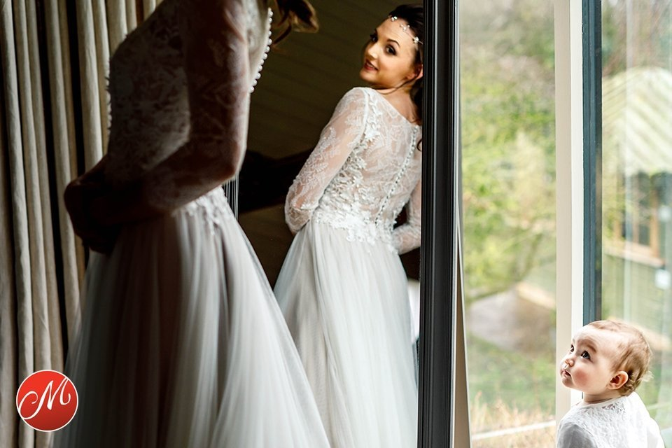 Mother and daughter wedding photograph